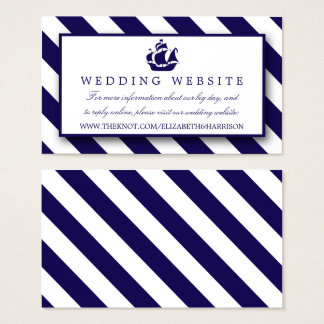 Cartes De Visite Rayures nautiques et mariage de bateau de bleu