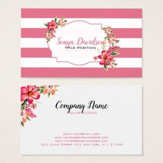 Cartes De Visite Rayures roses et blanches