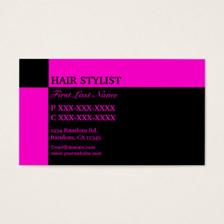 Cartes de visite razberry noirs roses de coiffeur