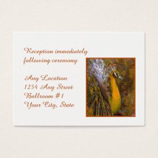 Cartes De Visite Réception de mariage brillante de paon d'or