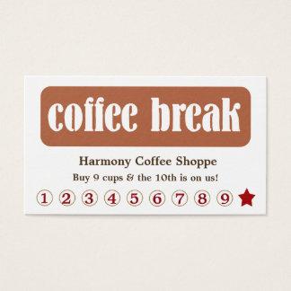 Cartes De Visite Remise de fidélité de client de pause-café