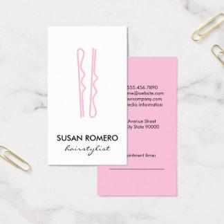 Cartes De Visite Rendez-vous rose de goupilles de cheveux