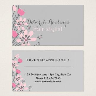 Cartes De Visite Rendez-vous rose floral de coiffeur du gris |