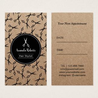 Cartes De Visite Rendez-vous rustique de motif de ciseaux de salon