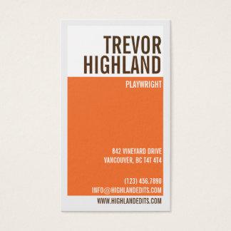 Cartes De Visite Rétro fente géométrique minimaliste - orange