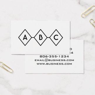 Cartes De Visite Rétro monogramme noir et blanc moderne de diamants