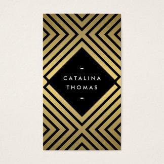 Cartes De Visite Rétro noir audacieux de mod et motif d'or
