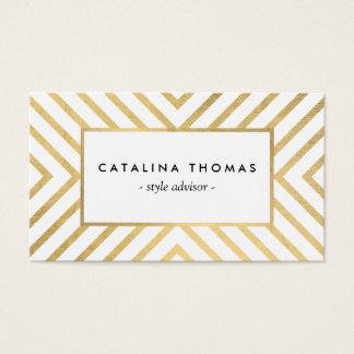 Cartes De Visite Rétro or de mod et motif de blanc