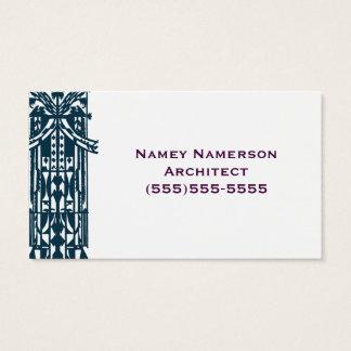 Cartes De Visite Rétro tribal architectural géométrique de forme de