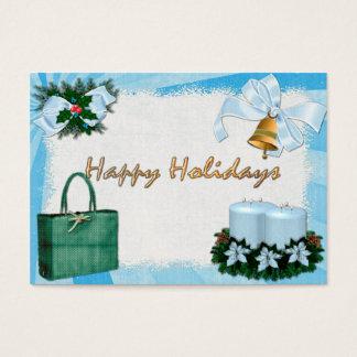 Cartes De Visite Rétros bleus DISCOUNT/GIFT de vacances pour des