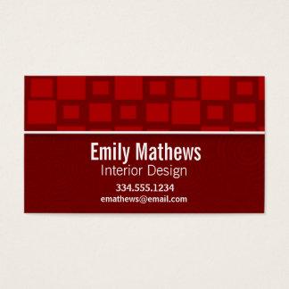 Cartes De Visite Rétros carrés rouges ; Motif carré