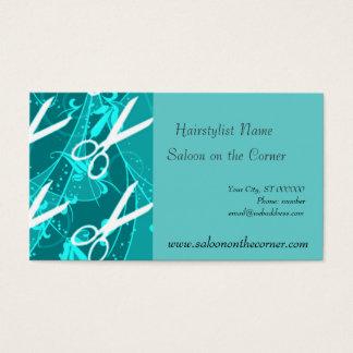Cartes De Visite Rétros ciseaux en pastel turquoises d'imaginaire