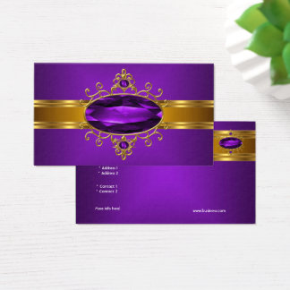 Cartes De Visite Riches royaux 2 d'or jaune de bijou fleuri pourpre