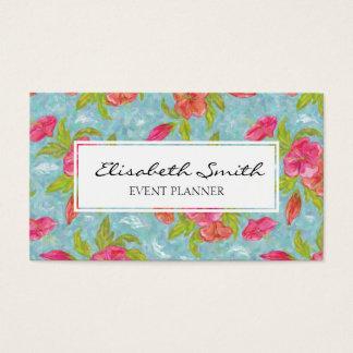 Cartes De Visite Rose et fleur peinte par bleu, motif floral