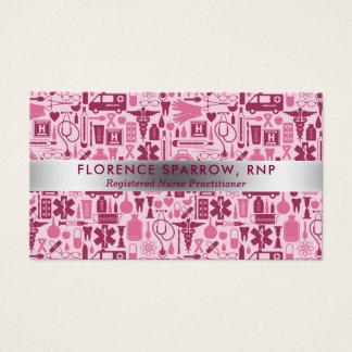 Cartes De Visite Rose moderne de motif de soins d'infirmière
