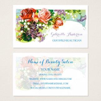 Cartes De Visite Rose vintage certifié de rose d'esthéticien floral