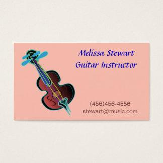 Cartes de visite roses de professeur de musique