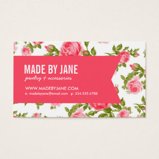 Cartes De Visite Roses et ruban floraux vintages élégants chics