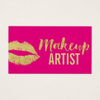 Cartes De Visite Roses indien modernes de lèvres d'or de maquilleur