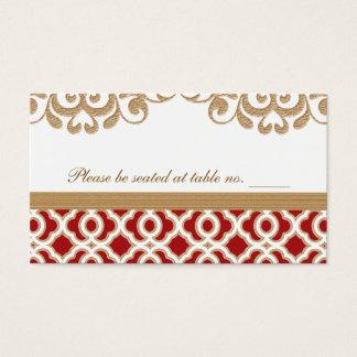 Cartes De Visite Rouge et endroit marocain de Tableau de mariage