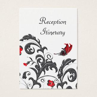 Cartes De Visite Rouge et mariage floral moderne gris de Gunmetal