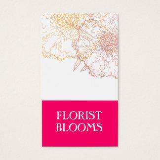 Cartes De Visite Rouge orange de fleuriste de rose moderne de