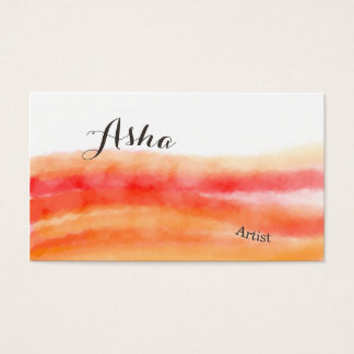 Cartes de visite rouges et oranges d'aquarelle carte de visite standard