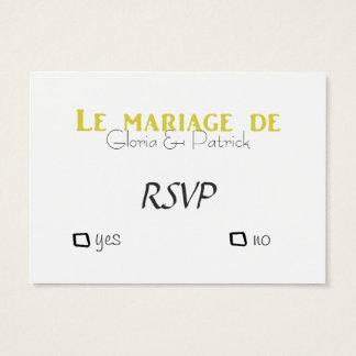 Cartes De Visite Rsvp français de mariage d'Oldfahioned