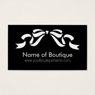 Cartes De Visite Ruban Girly noir et blanc de boutique moderne
