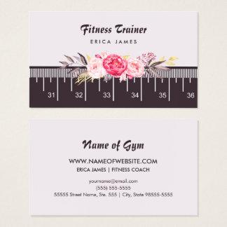 Cartes De Visite Ruban métrique floral rose élégant d'entraîneur de