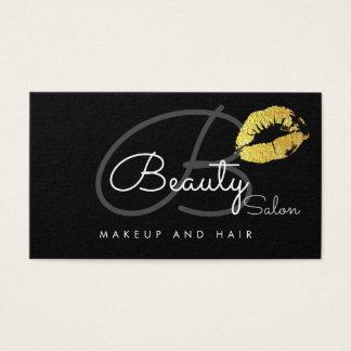 Cartes De Visite salon-carte de lèvres de maquillage. monogramme de