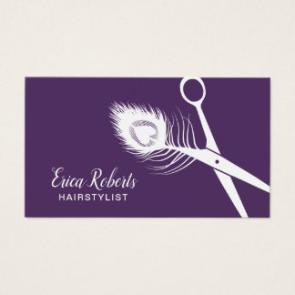Cartes De Visite Salon de beauté pourpre de ciseaux de paon de