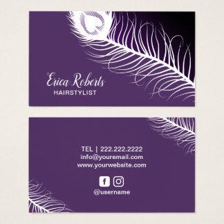 Cartes De Visite Salon de beauté pourpre de plume de paon de