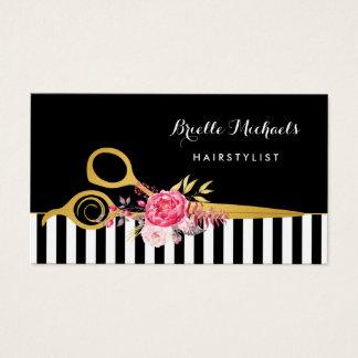 Cartes De Visite Salon de coiffure floral de rose de rayures de