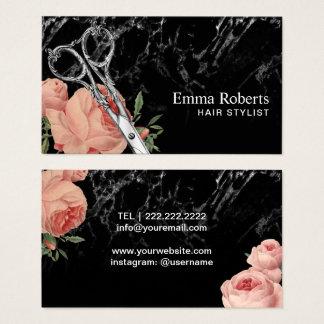 Cartes De Visite Salon de marbre élégant floral vintage de coiffeur