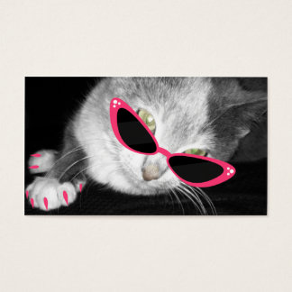 Cartes De Visite Salon de spa d'animal familier - chat avec les