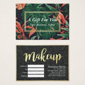 Cartes De Visite Salon floral de maquillage de manuscrit d'or de