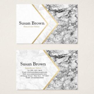 Cartes De Visite Salon gris moderne d'esthéticien de marbre d'or de