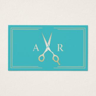Cartes De Visite Salon moderne de turquoise d'initiales d'or de