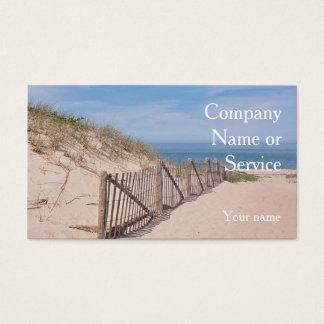 Cartes De Visite Scène de bord de la mer avec la barrière de plage