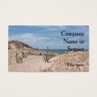 Cartes De Visite Scène de plage d'océan avec la barrière dunaire et