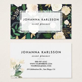 Cartes De Visite Scintillement de fleurs et d'or d'aquarelle de