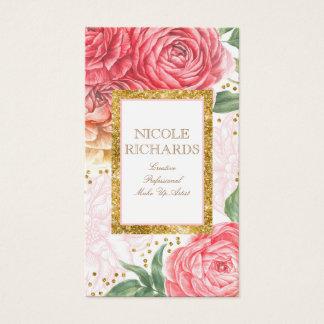 Cartes De Visite Scintillement d'or et fleurs roses d'aquarelle