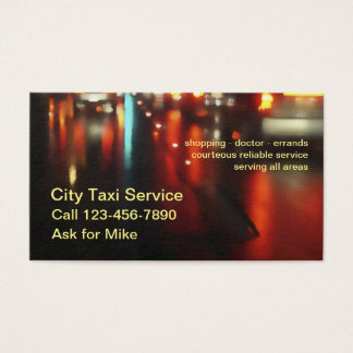 Cartes De Visite Service simple puissant de taxi
