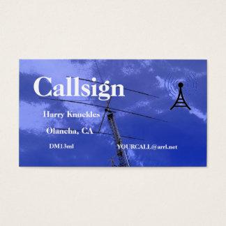 Cartes De Visite Signe amateur d'appel radio de faisceau et de tour