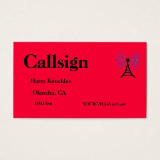 Cartes De Visite Signe amateur rouge lumineux d'appel radio