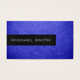 Cartes De Visite Simili cuir bleu de monogramme