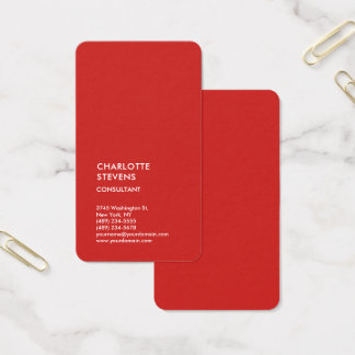 Cartes De Visite Simple élégant minimaliste à la mode rouge