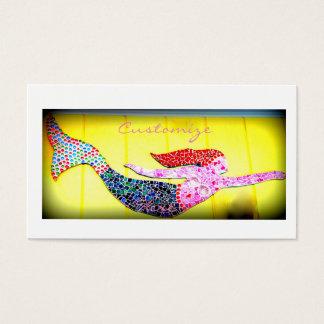 Cartes De Visite sirène rose de natation de mosaïque