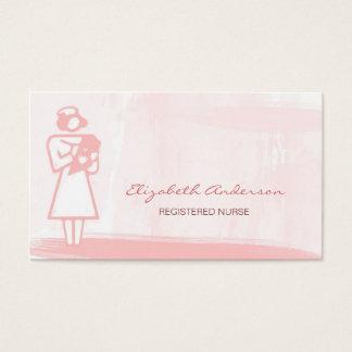 Cartes De Visite Soins de santé roses Girly d'aquarelle d'infirmier